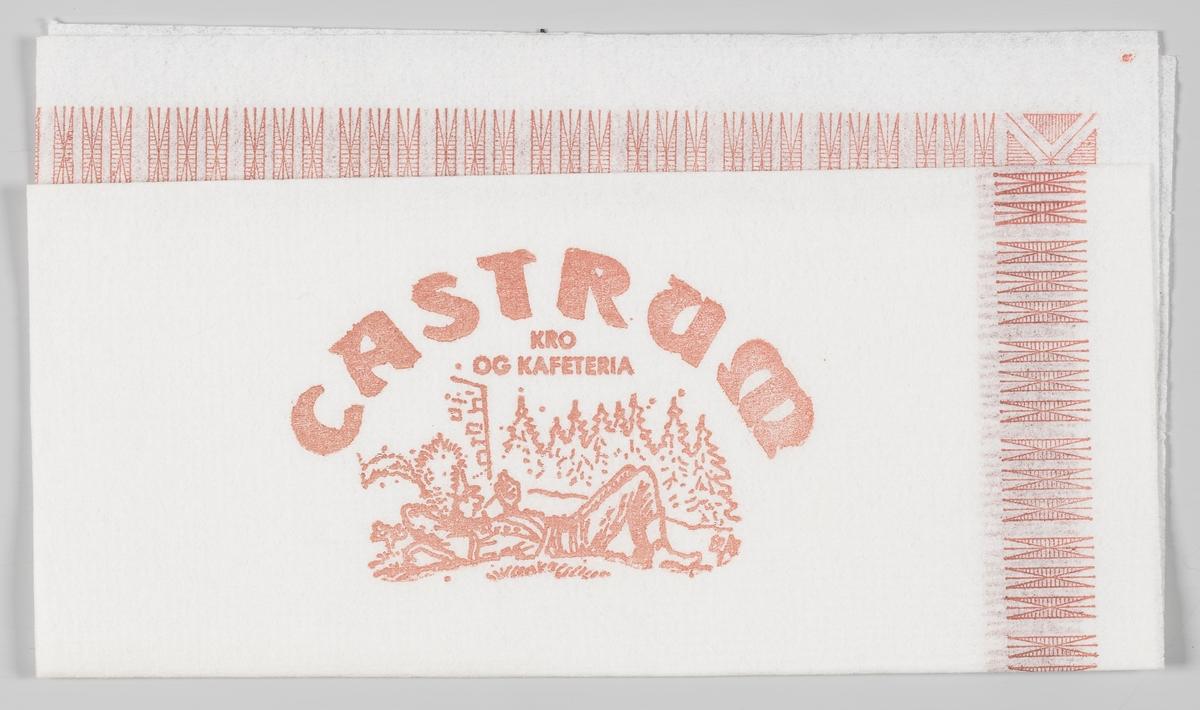 En soldat som ligger og hviler seg og en reklametekst ofr Castrum Kro og Kafeteria.  Castrum åpnet dørene i 1975 og var på den tiden det store utestedet på Hedmarken frem til 1980-tallet. Siden den gang har stedet hatt flere eiere og har vært drevet under flere navn. I dag heter stedet Castrum spiseri  Samme reklametekst på MIA.00007-004-0285.