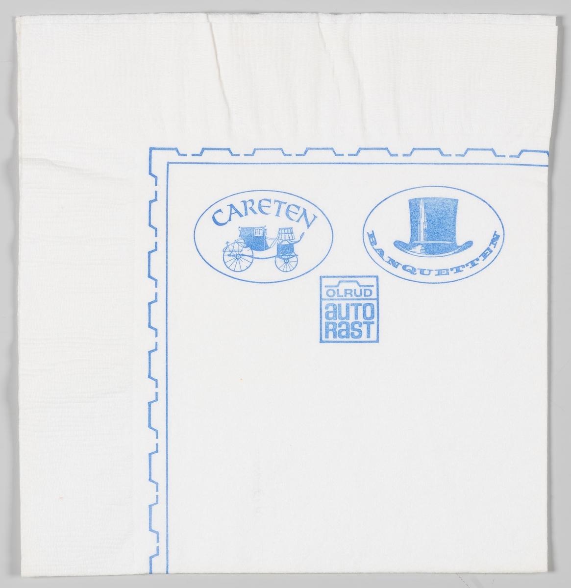 En firkantet ramme med omrisset av en bil og en reklametekst for Olrud Autorast, en rund ramme med reklame for Careten og en rund ramme med reklame for Banquetten.  Olrud Auto Rast i Furnes ble påbegynt i 1966 og ferdig utbygd med motorhotell i 1968.  Reklame for samme firma på MIA.00007-004-0288.