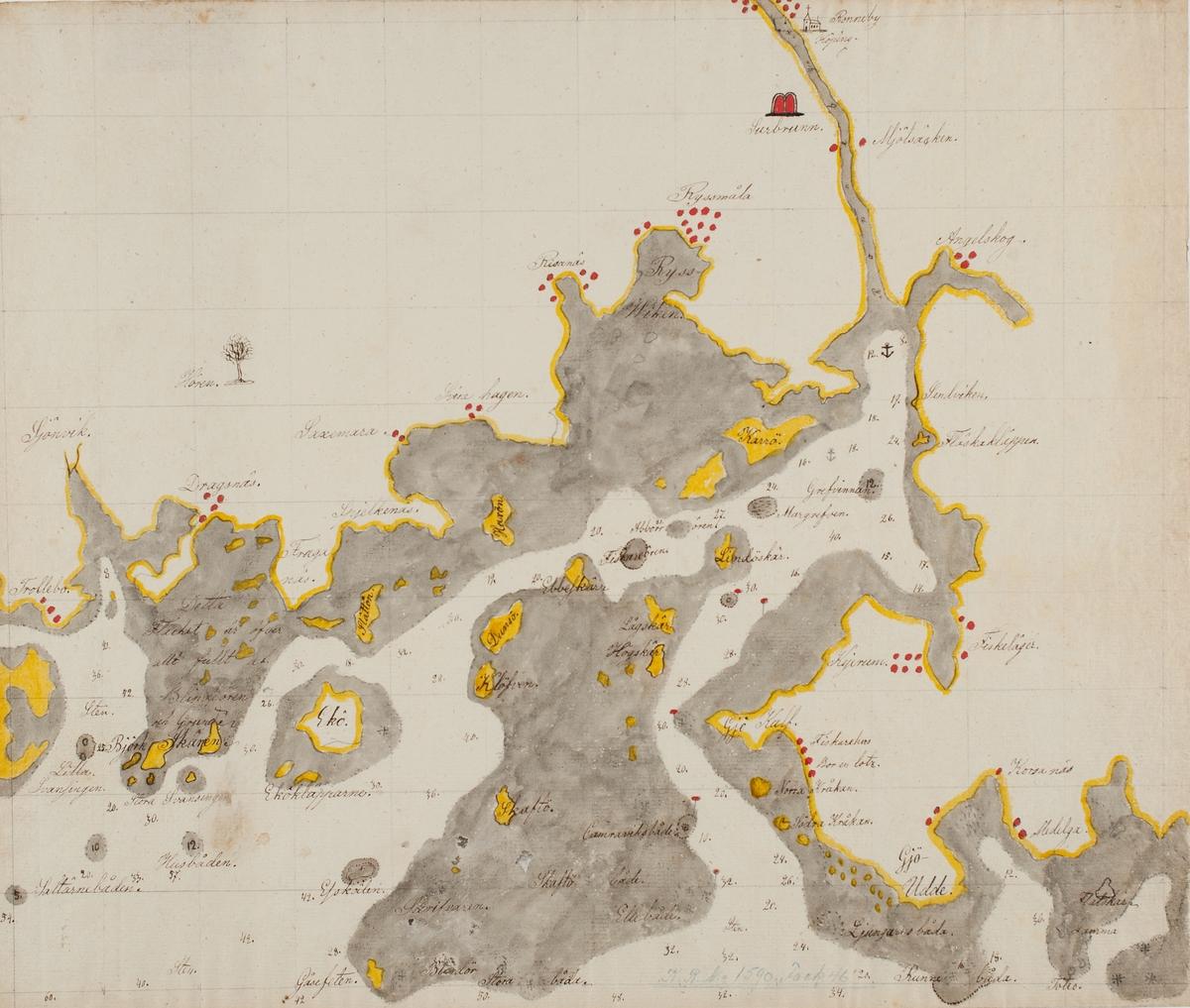 Serie av handritade kartor över Karlskronas skärgård.