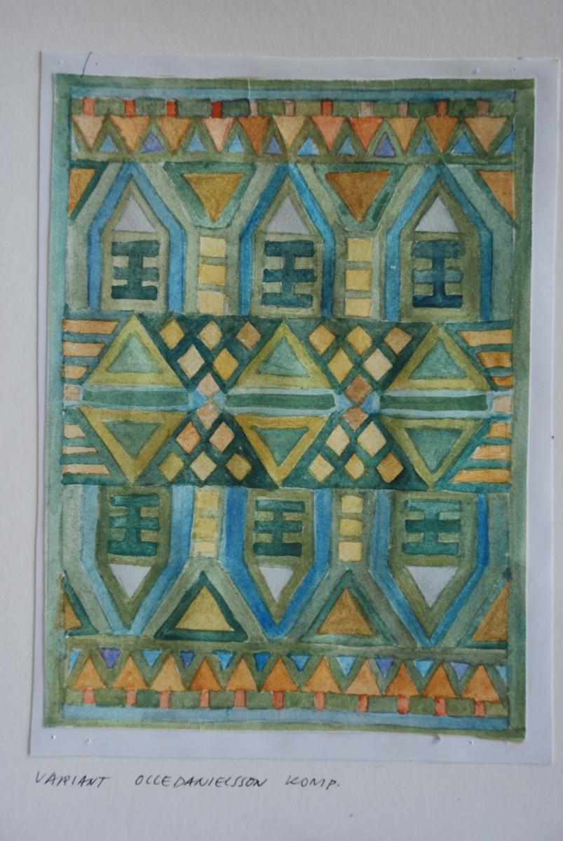Skisser till rölakansmattor komponerade av Olle Danielsson 1960-70-talet. Mattorna vävdes i Vävkammaren i olika varianter.