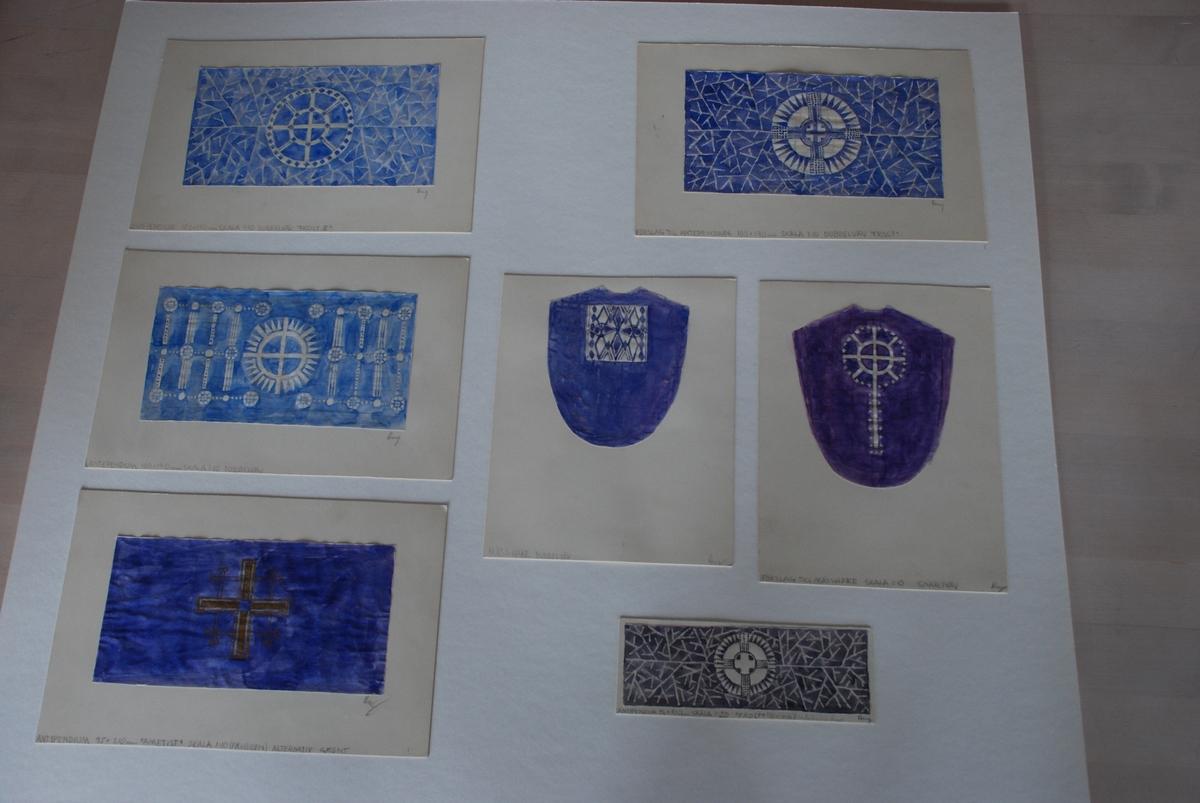 Skisser till kyrkliga textilier (mässhake, antependium) komponerade av Ann Mari Gunnarsson.