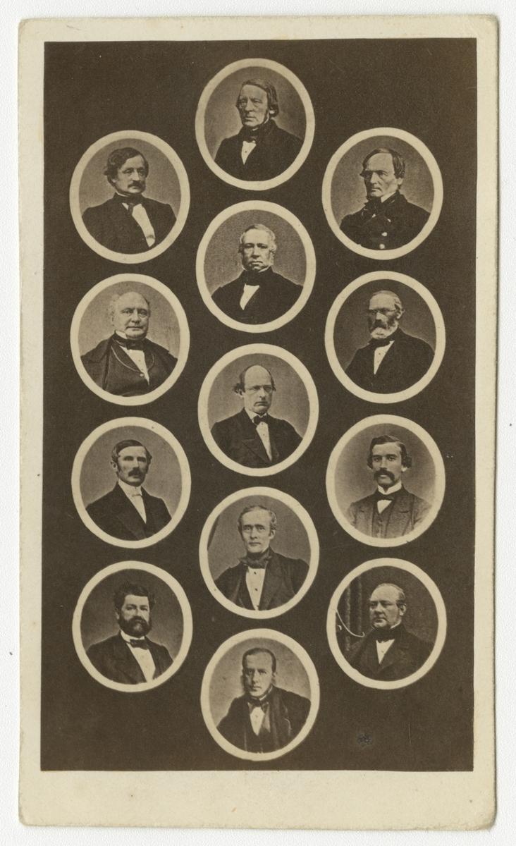 Grupporträtt av Stockholms representanter av riksdagens andra kammare åren 1867-68.