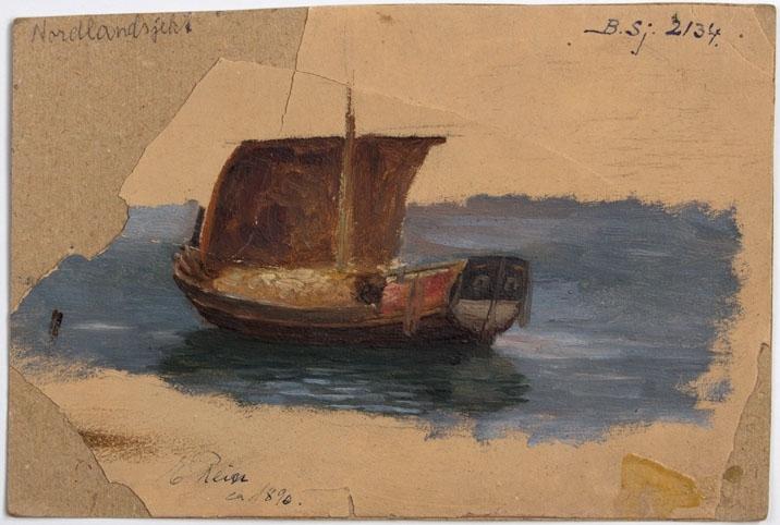 Skisse av nordlandsjekt/vedjekt malt ca. 1890.