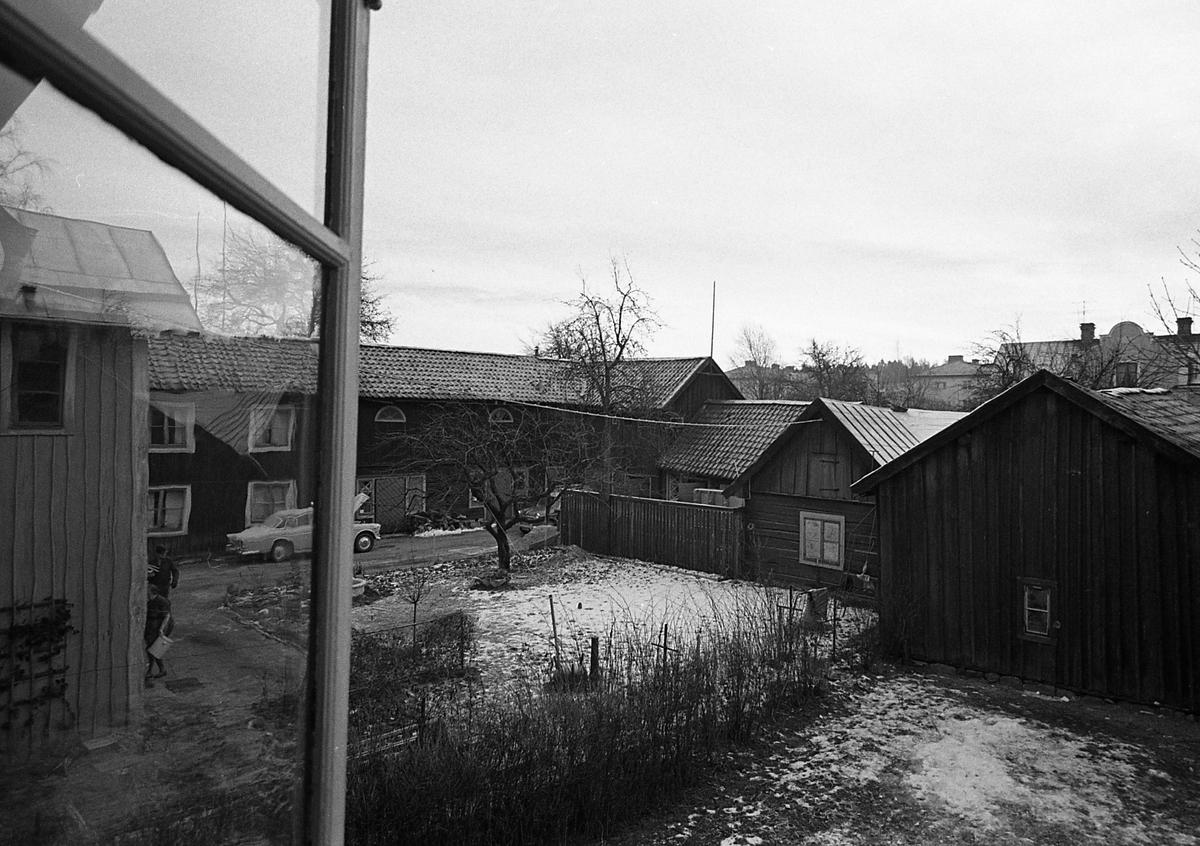 Kvarteret Tullnären, utsikt från en fönster. Det är vinter och snö i trädgården. Ett par människor skymtar. Två bilar är parkerade på gården. Kvarteret ligger mellan Storgatan - Trädgårdsgatan och Herrgårdsgatan - Paradisgränd.