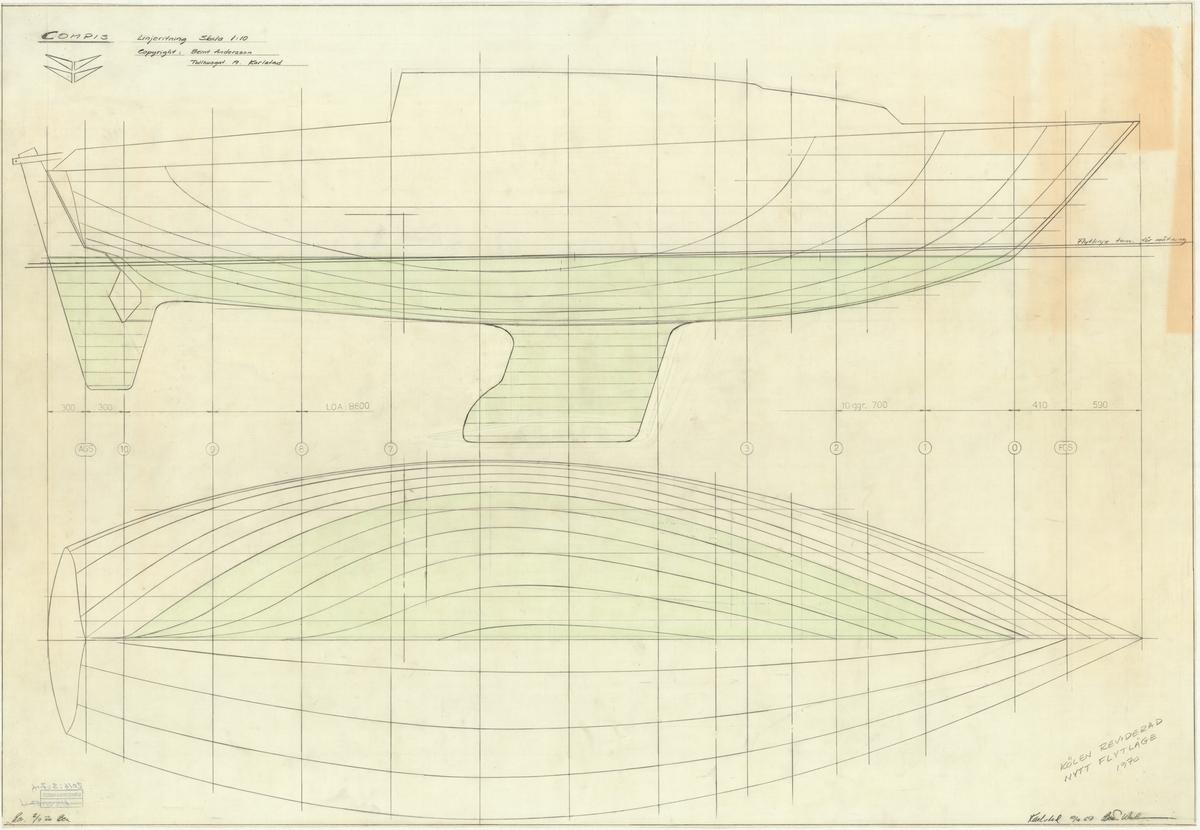 Segelbåt, Compis Linjeritning plan och profil Längd (meter): 8,600