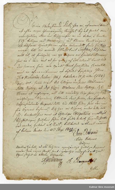 KLM 46339:7. Arkivhandling, köpekontrakt. Handskrift med svart bläck på vitt, gulnat papper två sidor.