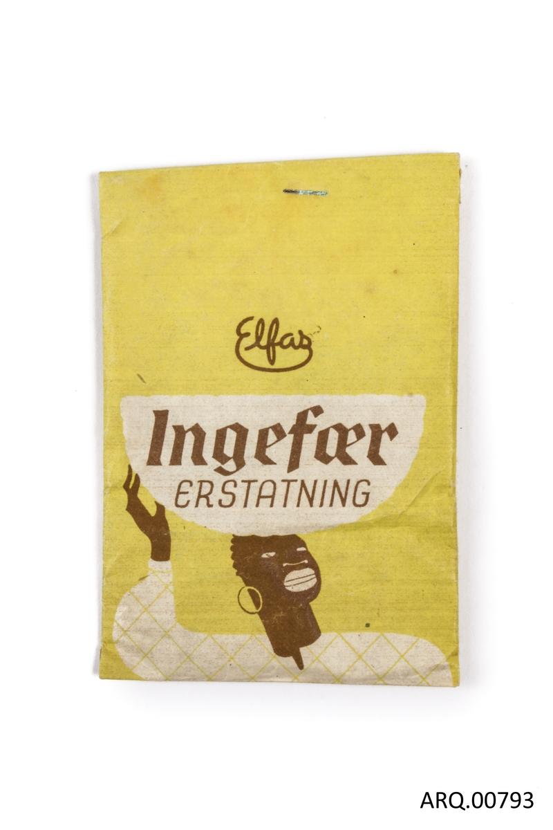 Uåpnet krydderpose med ingefærerstating.