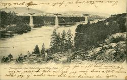 Vykort med motiv av järnvägsbron över Indalsälven vid Döda f