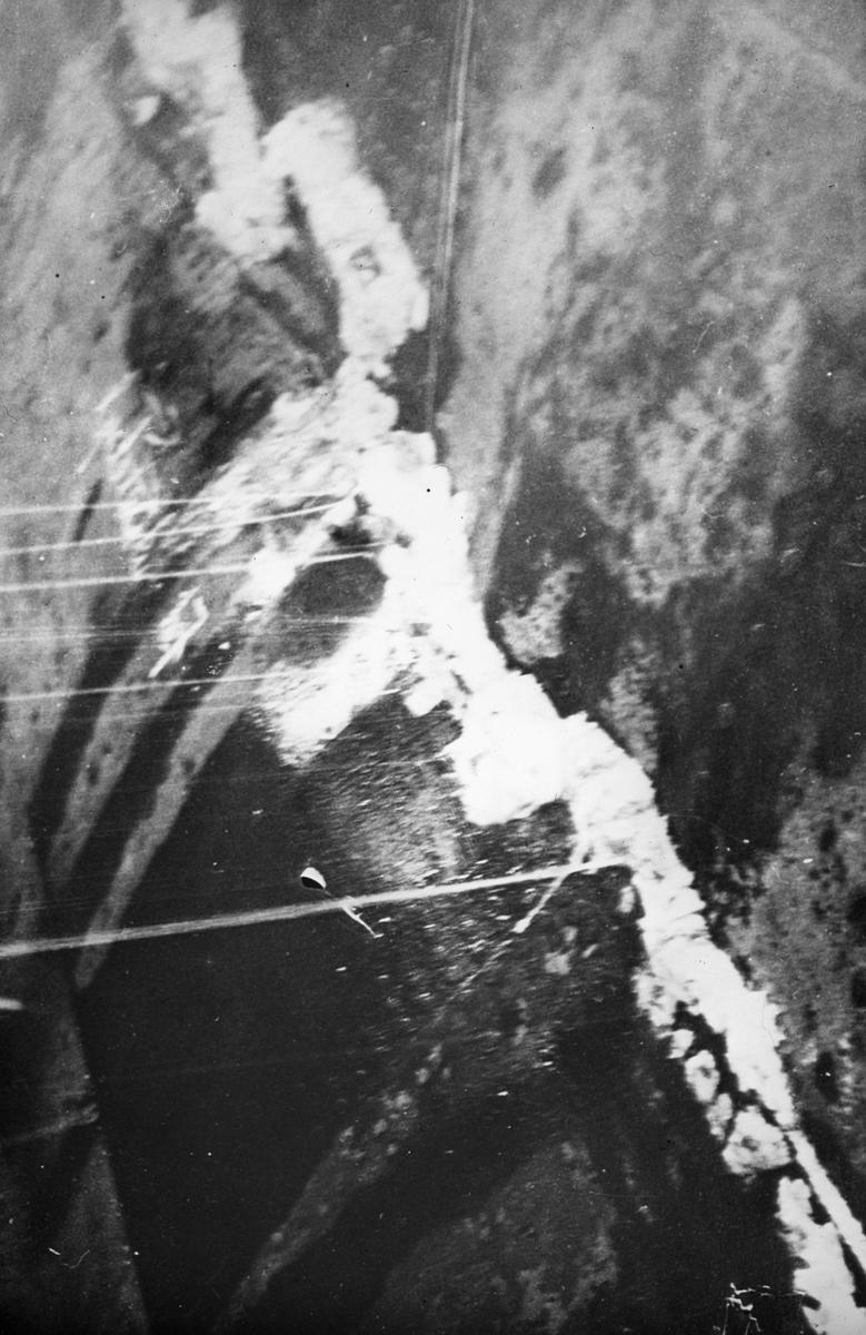 Detalj slagside på et havarert skip.