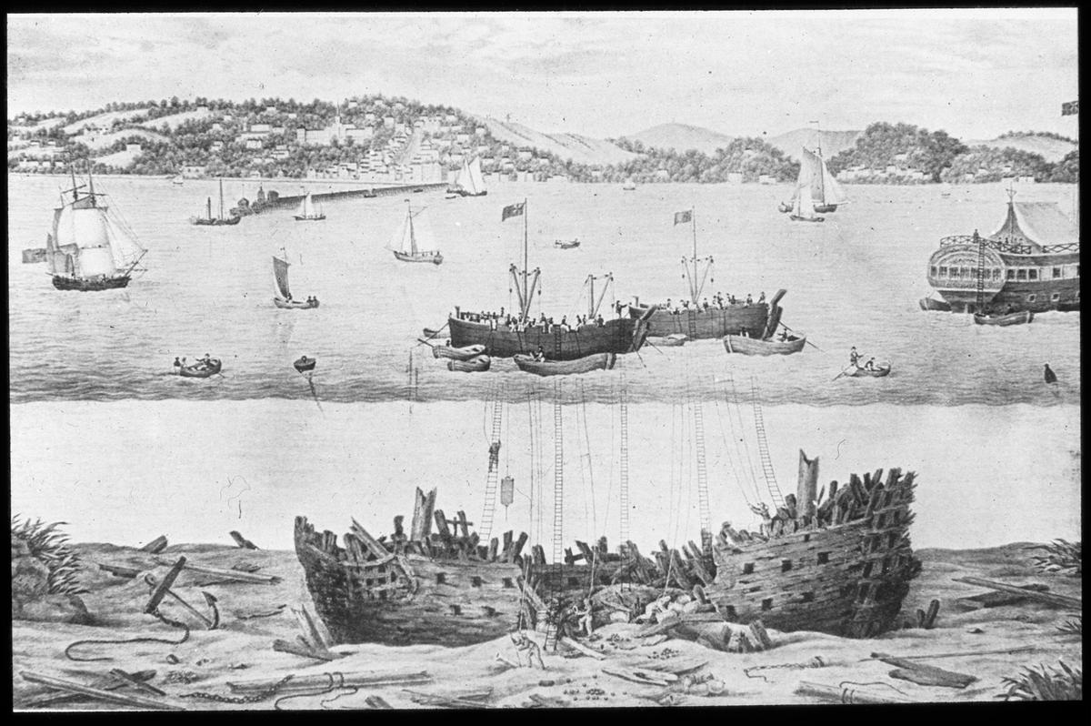 Avfotografert trykk som viser en skipsbergning.