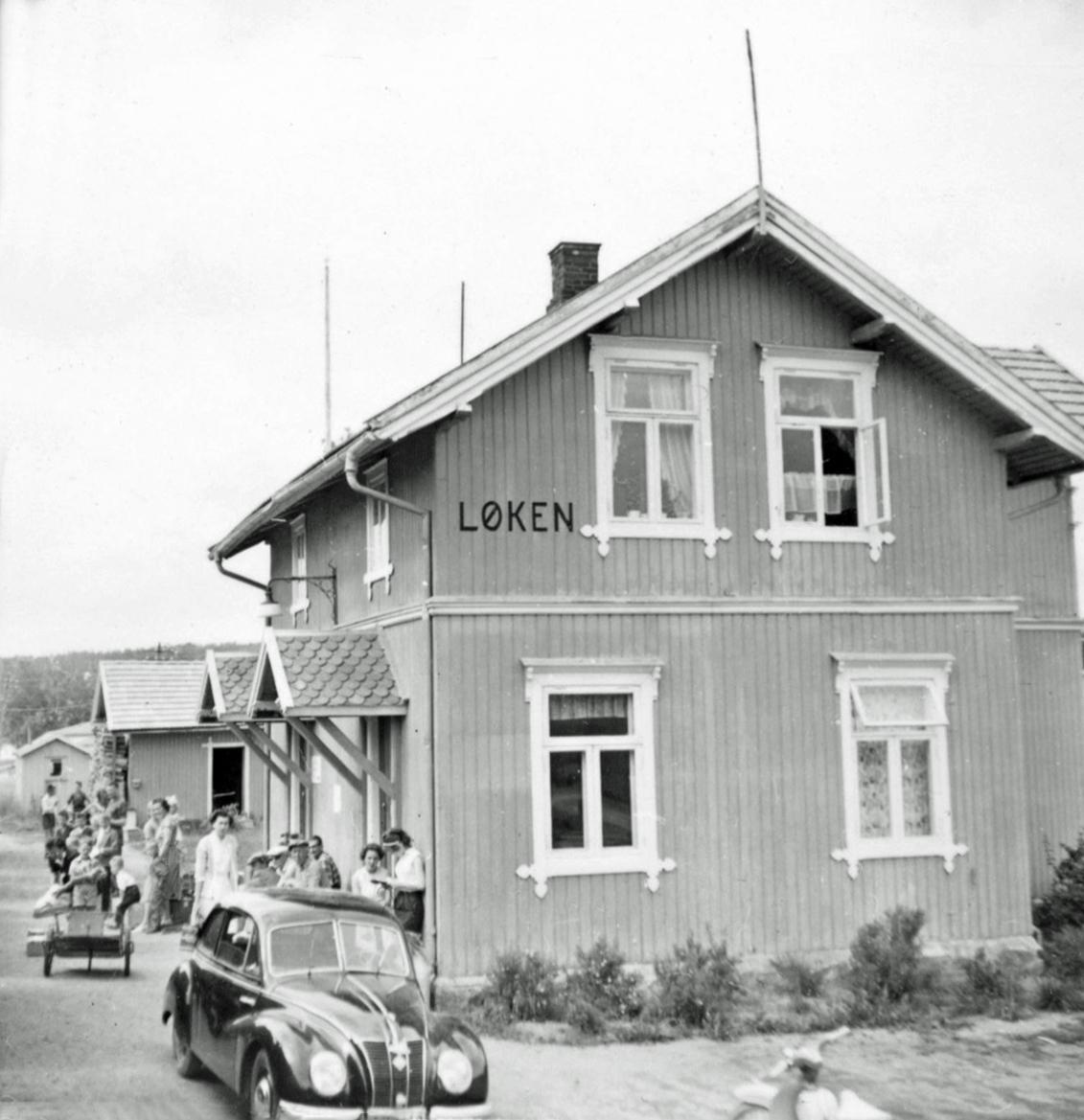 Løken stasjon, sett fra et av de siste ordinære tog på Aurskog-Hølandbanen