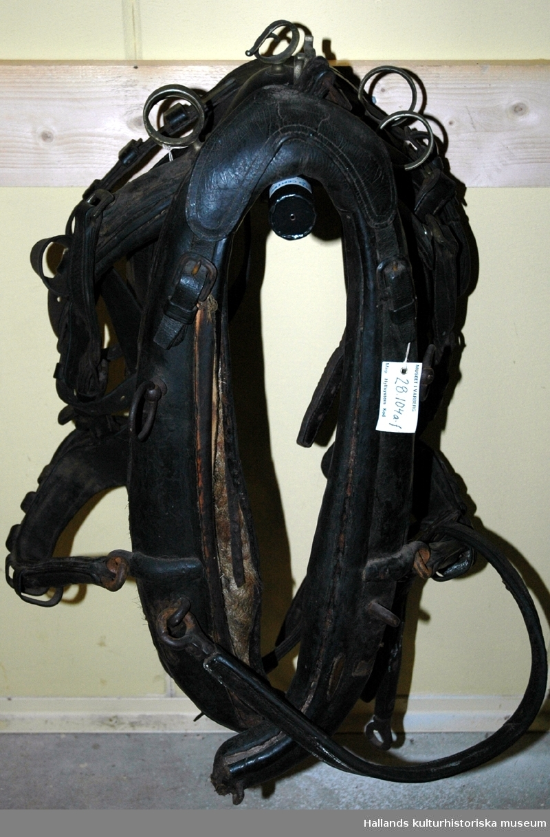 Seldon av typen halvkollersele. a) Halvkoller av svart läder med stoppning. Längd: 68 cm. b-c) Draglina av svart läder. Längd: 231 cm. d) Svansrem av svart läder. Längd: 74 cm. e) Selbåge av svart läder med vit dekor. 2 stycken tömlöpare samt öppen ögla i däremellan, av mässing. Längd: 201 cm. f) Huvudlag av svart läder med vit dekor. Längd: 111 cm.