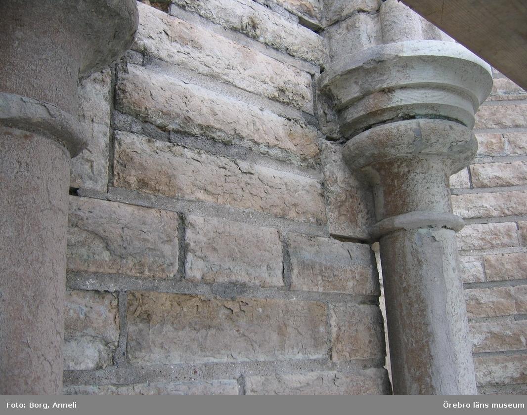 Renoveringsarbeten av tornfasader på Olaus Petri kyrka (Olaus Petri församling).Östra tornet, före åtgärder.Dnr: 2008.230.065