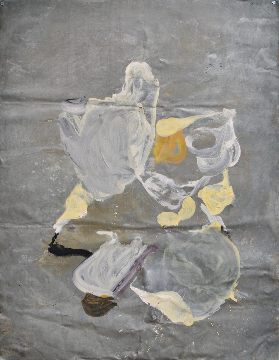 """Oljemålning på zinkplåt. """"Lacoste 15 juni 1995"""" av Lotti Ringström. Grå obehandlad plåt med målat abstrakt motiv i beige, ockra, svart, lila och brunt. Oramad. Signerad nedtill till höger: """"L.R.-95""""."""