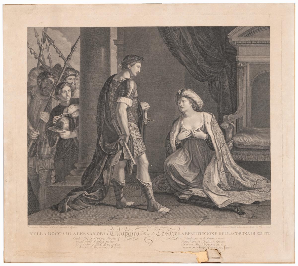 Veneto P. B. Kopparstick efter F. Barbewi Guercino. Föreställer Cesar och Cleopatra.