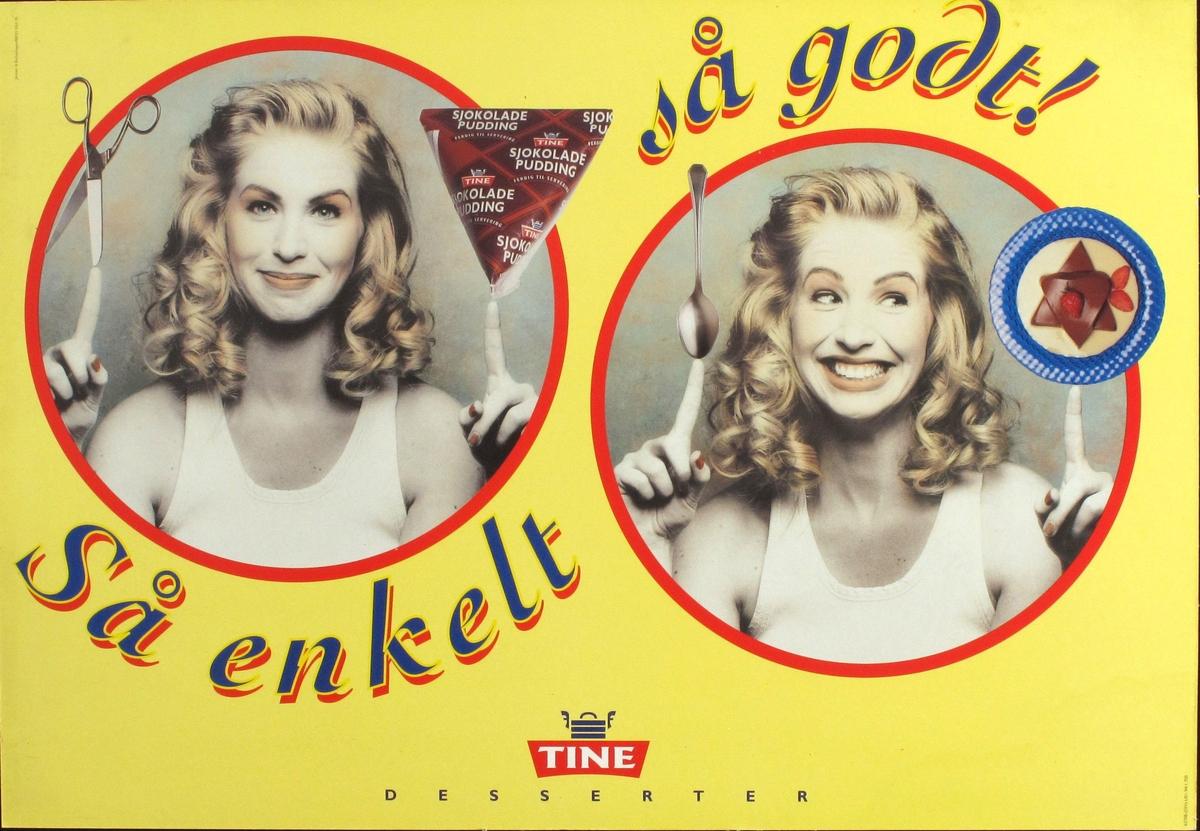 To  fotografier av jente og sjokoladepudding. Tines logo  + tekst