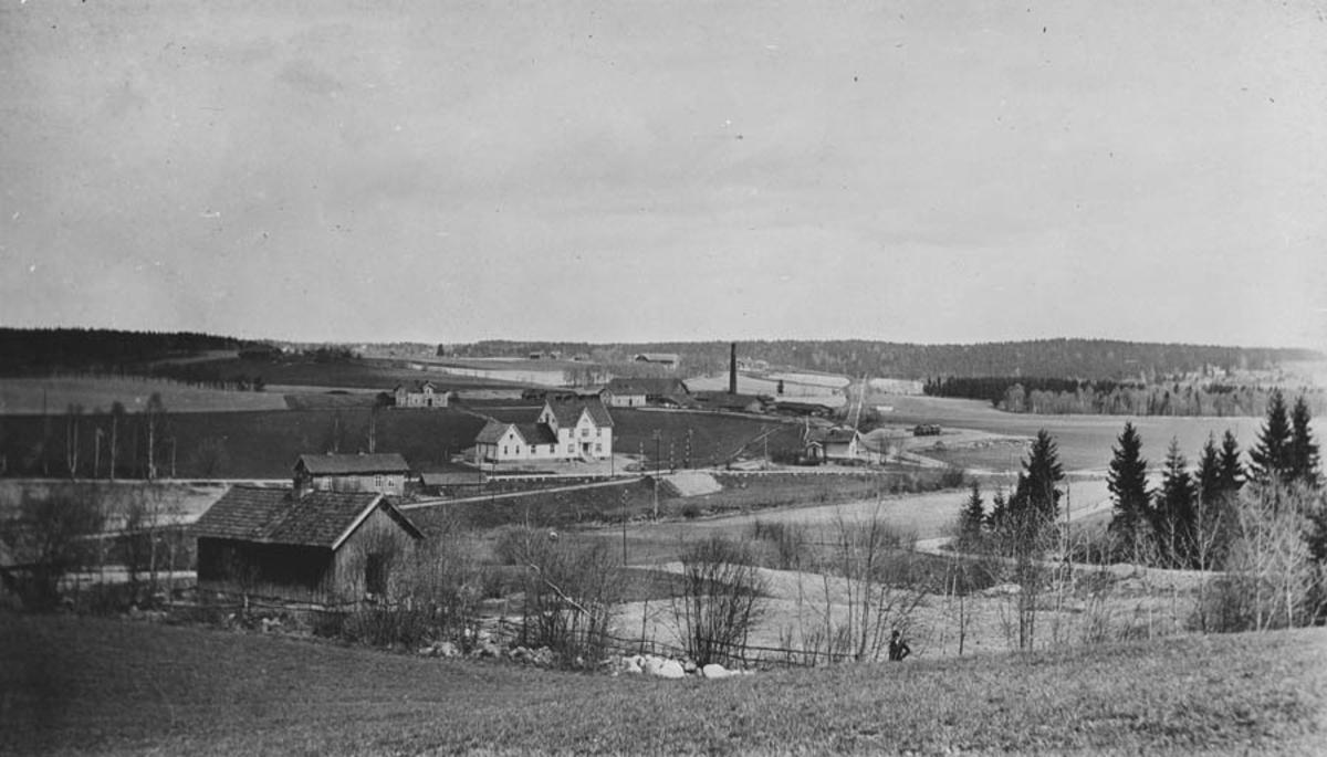 Landskapsmotiv, bygninger fra Hoelstad. Hoelstad landhandel og Hoelstad teglverk
