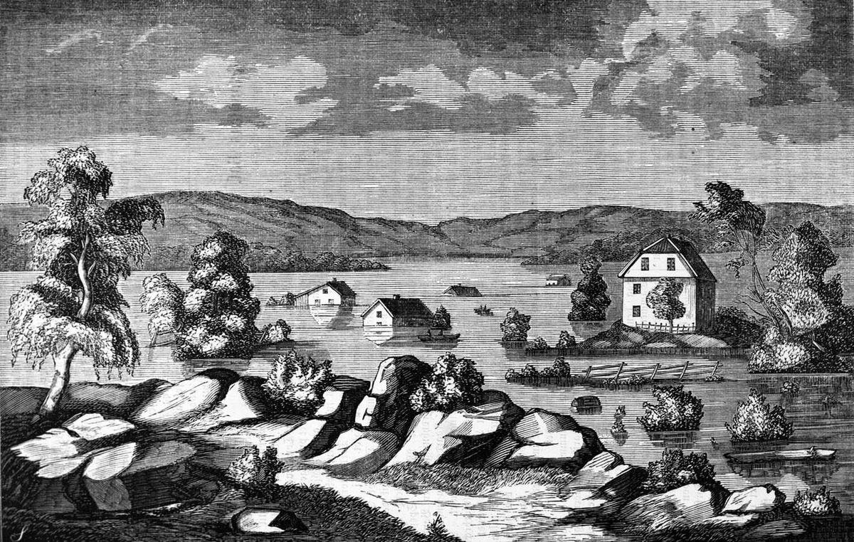Øyeren i storflom, Xylografi fra Skillingsmagasinet Dramatisk bilde, som vanskelig lar seg stedfeste.
