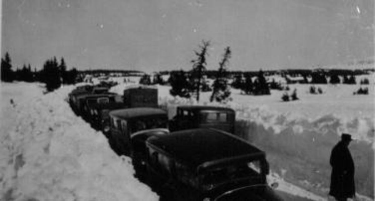 Birkebeinerrennet. parkerte biler langs brøytekanten på Sjusjøen.