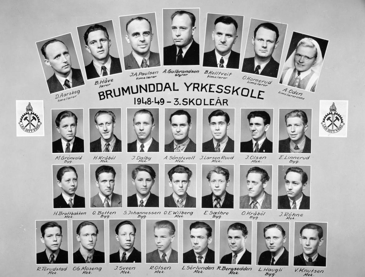 Brumunddal Yrkesskole 1948-1949-3. skoleår. Elever og lærere.  Øverste rekke f. v. D. Aarskog, Bjarne Håve, J. A. Paulsen, A. Gulbrandsen, Bernt Kolltveit, O. Kornerud, A. Oden.  2 rekke ovennfra. M. Grønvold, H. Kråbøl, J. Dalby, A. Sønstevoll, J. Larsen Ruud, Jon Olsen, E. Linnerud.  3. rekke ovenfra. H. Brattbakken, O. Botten, S. Johannessen, O. E. Wilberg, E. Sæthre, Oddvar Kråbøl og J. Røhne.  Nederste rekke f. v. R. Tørudstad, O. G. Moseng, J. Sveen, R. Olsen, L. Sørlunden, R. Bergsodden, L. Haugli, V. Knudsen.