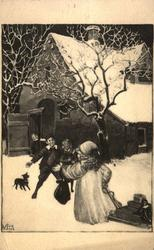 Julekort. Jule- og nyttårshilsen. Vintermotiv. Svart/hvitt.