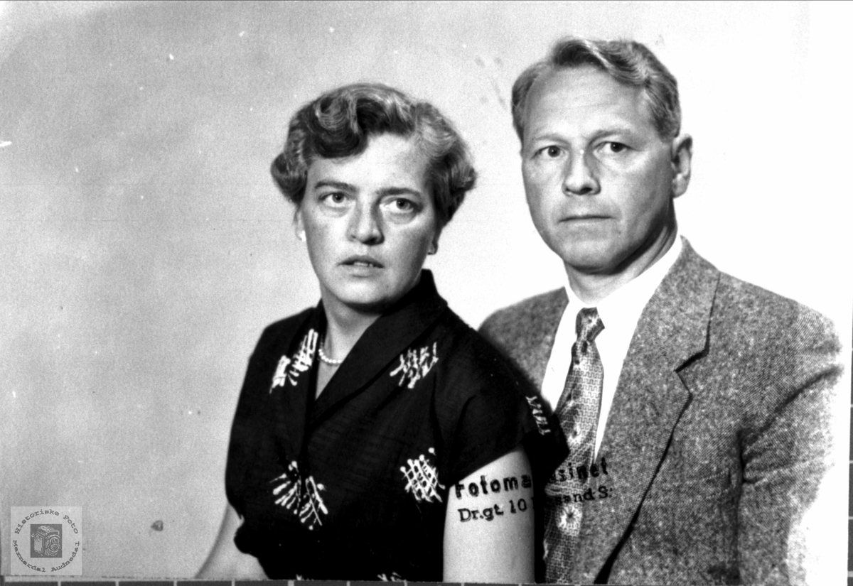 Portrett av ekteparet Olga og Olav Trygsland, Bjelland.
