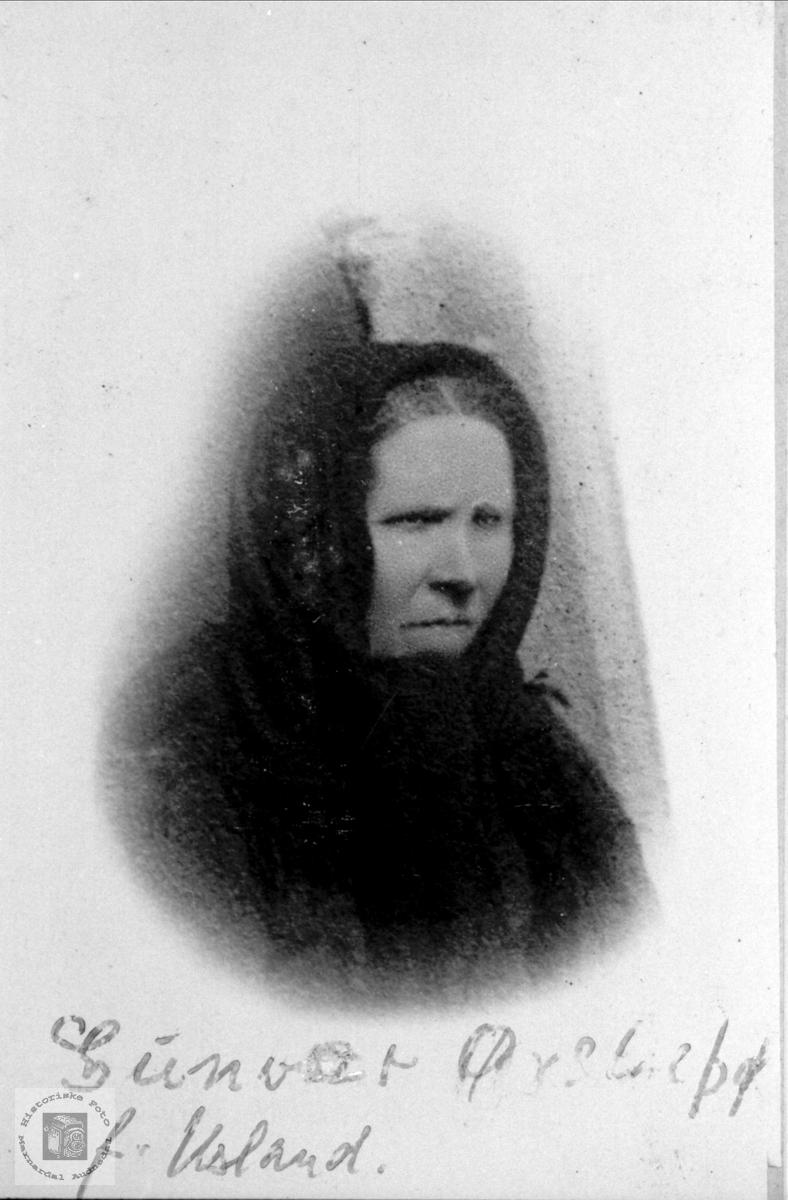 Portrett av Gunvor (f.Usland) Øyslebø.
