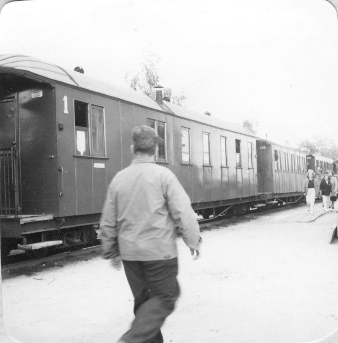 Mange reisende og skuelystne på Sørumsand stasjon på Tertittens siste driftsdag 30.06.1960.