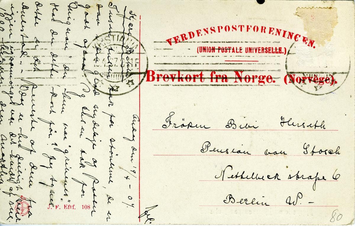 Bjørnson, veranda, hund, brevkort,