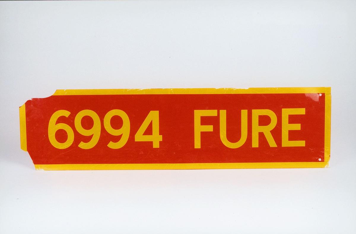 Postmuseet, gjenstander, skilt, stedskilt, stedsnavn, 6994 Fure.