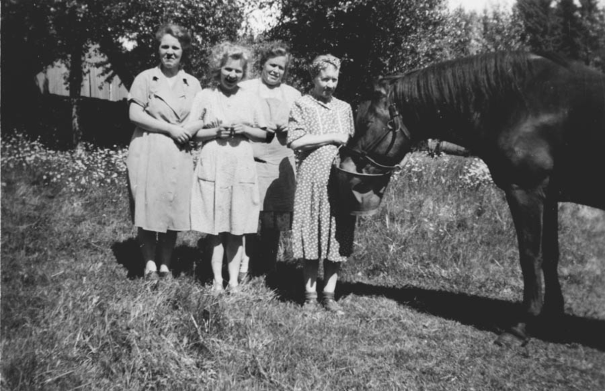 "På ""fabrikken"" Margit Hansen, fru Magnussen, Ruth Haugland, Mary Furuseth og hesten Timian.  Grubernes Sprængstoffabrikk."