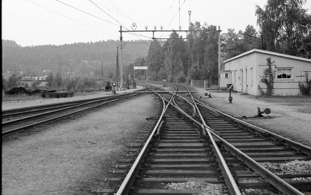 Fra Grovane stasjon. Sørlandsbanen til høyre, Setesdalsbanen til venstre.