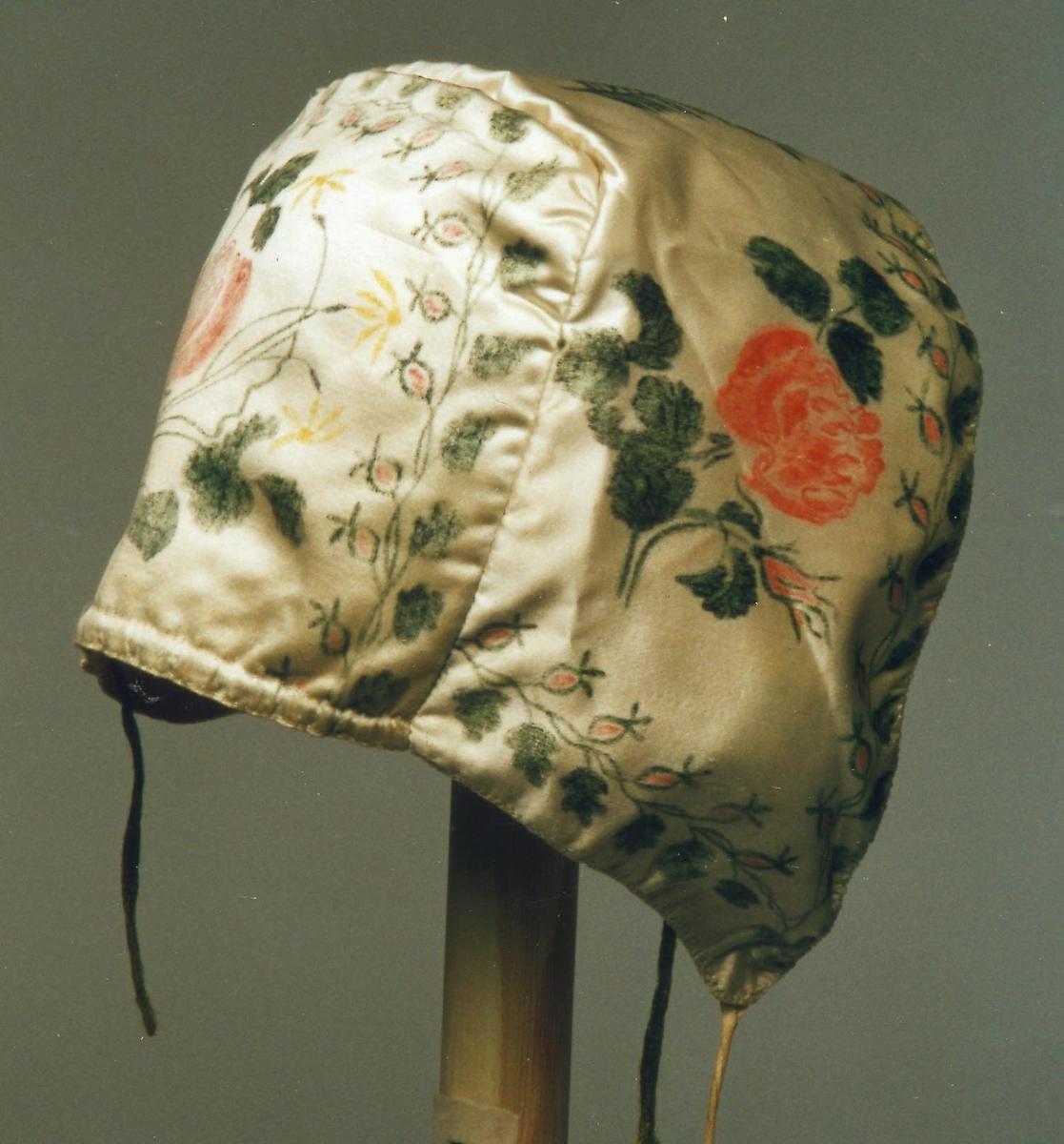 Knytte bånd. Trekk bånd bak. Silke med malte roser i rødt og grønt.