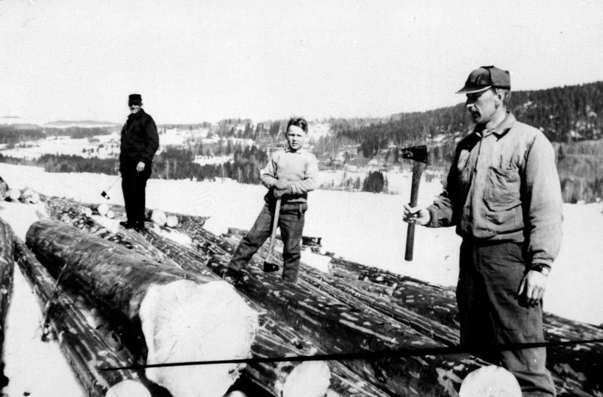 Oppmåling og merking av tømmer, Kvarstad, Ringsaker. Kristian Olesen med merkeøks, Johs Sørum med tømmerklave.